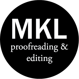 Logo for M K L Proofreading and Editing